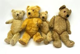 Four English teddy bears 1930s-50s including Chiltern type with swivel jointed head