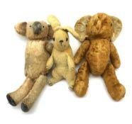 Three 1950s animals comprising unusual hide koala bear with traces of original fur