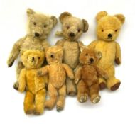 Six English teddy bears c1930s-50s including wood wool filled Chiltern with swivel jointed head
