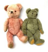 Two 1950s coloured teddy bears - Farnell type wool plush in greeny grey with applied eyes, verticall