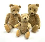 Three 1950s German teddy bears including blonde mohair