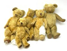 "Five British teddy bears c1930s-50s including Pedigree bear H22""/55cm"
