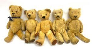 Five English teddy bears 1930s-1950s including three Chiltern