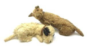English caramel fudge coloured seated Cairn style terrier dog c1930s-50s with wood wool filling