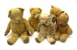 Five British teddy bears 1930s-50s including Irish Tara bear with swivel jointed head