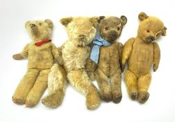 Four English teddy bears 1930s-1950s