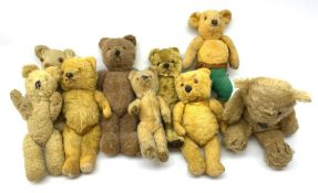 Nine English teddy bears 1950s-60s including wood wool filled Pedigree bear with swivel jointed head