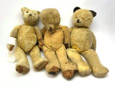Three large early wood wool filled teddy bears for restoration