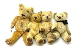 Four English teddy bears 1930s-50s comprising Chiltern with revolving head