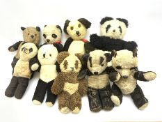 Seven English panda bears c1930s-50s including two Pedigree with plastic dog noses H29cm; Farnell Al