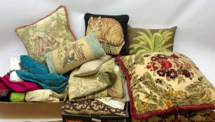 A group of various textiles and cushions