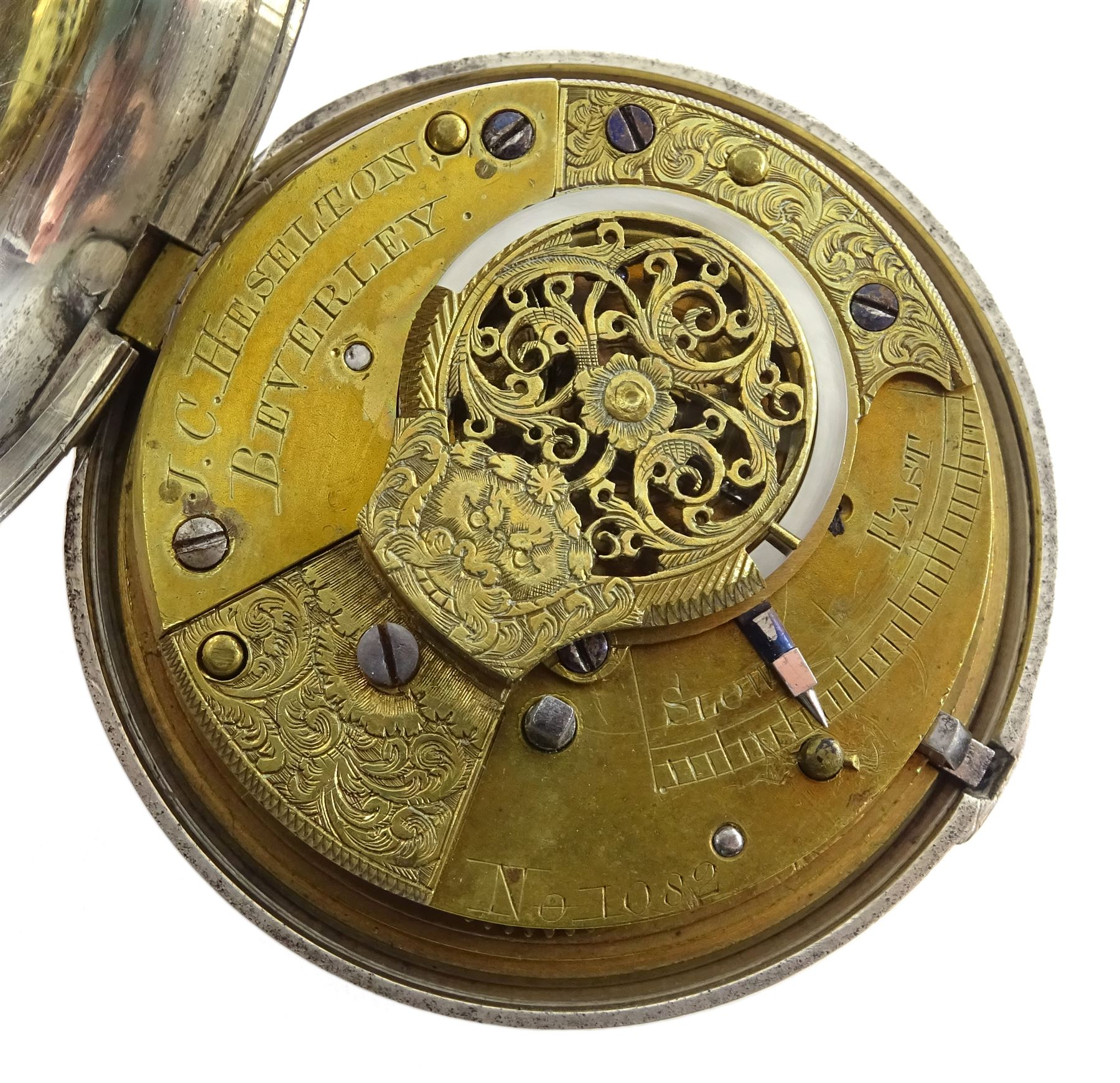 William IV silver pair cased verge fusee pocket watch by J C Heselton - Image 4 of 8