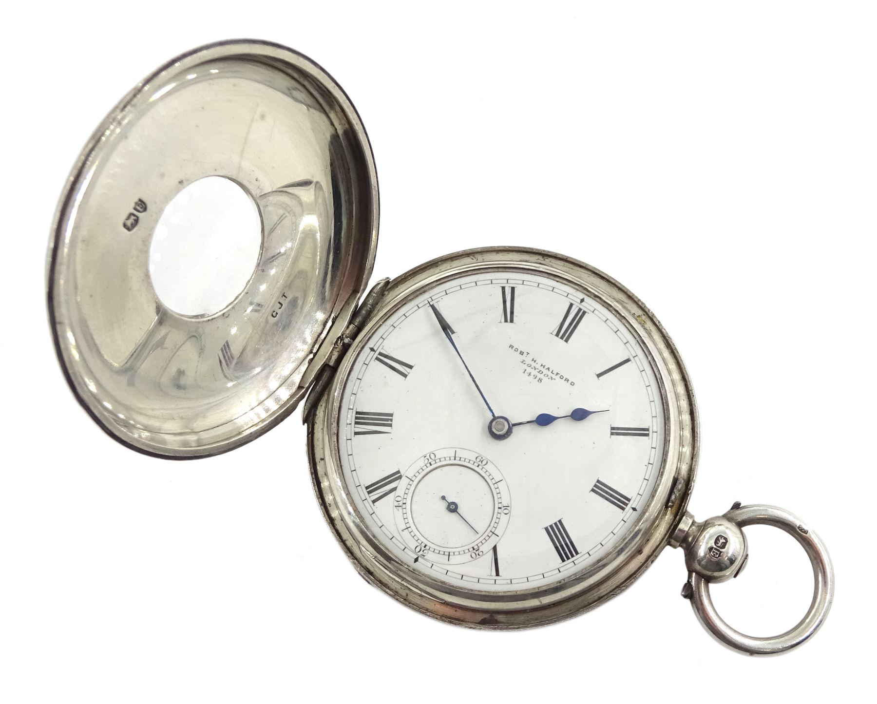 Victorian silver half hunter lever fusee presentation pocket watch by Robert H Halford, silver open - Image 3 of 4