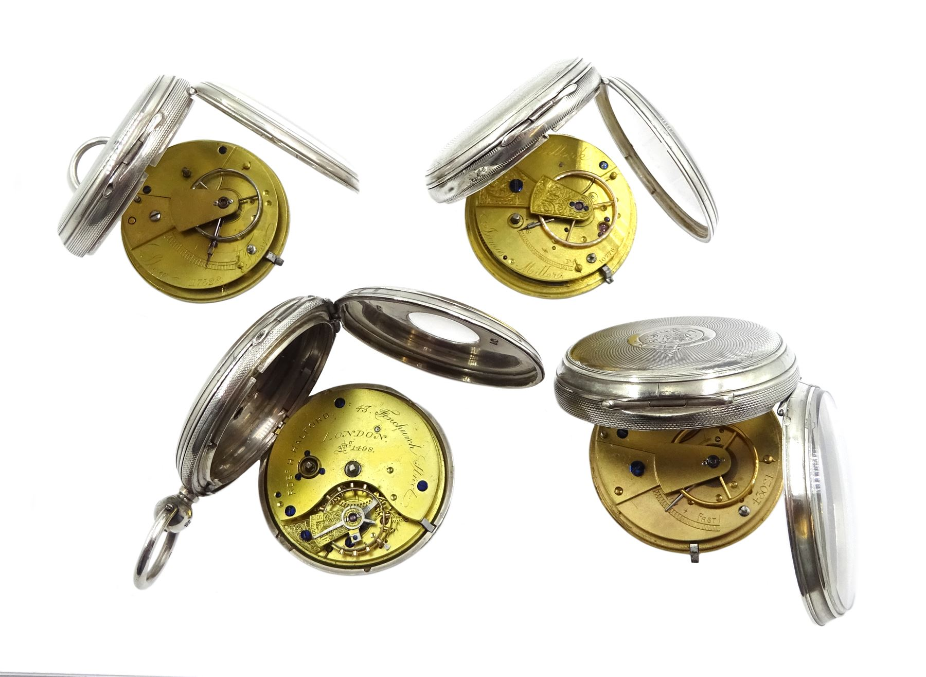 Victorian silver half hunter lever fusee presentation pocket watch by Robert H Halford, silver open - Image 4 of 4