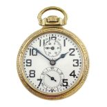 Elgin watch Co gold-plated open face B.W. Raymond 'up & down' keyless 21 jewels