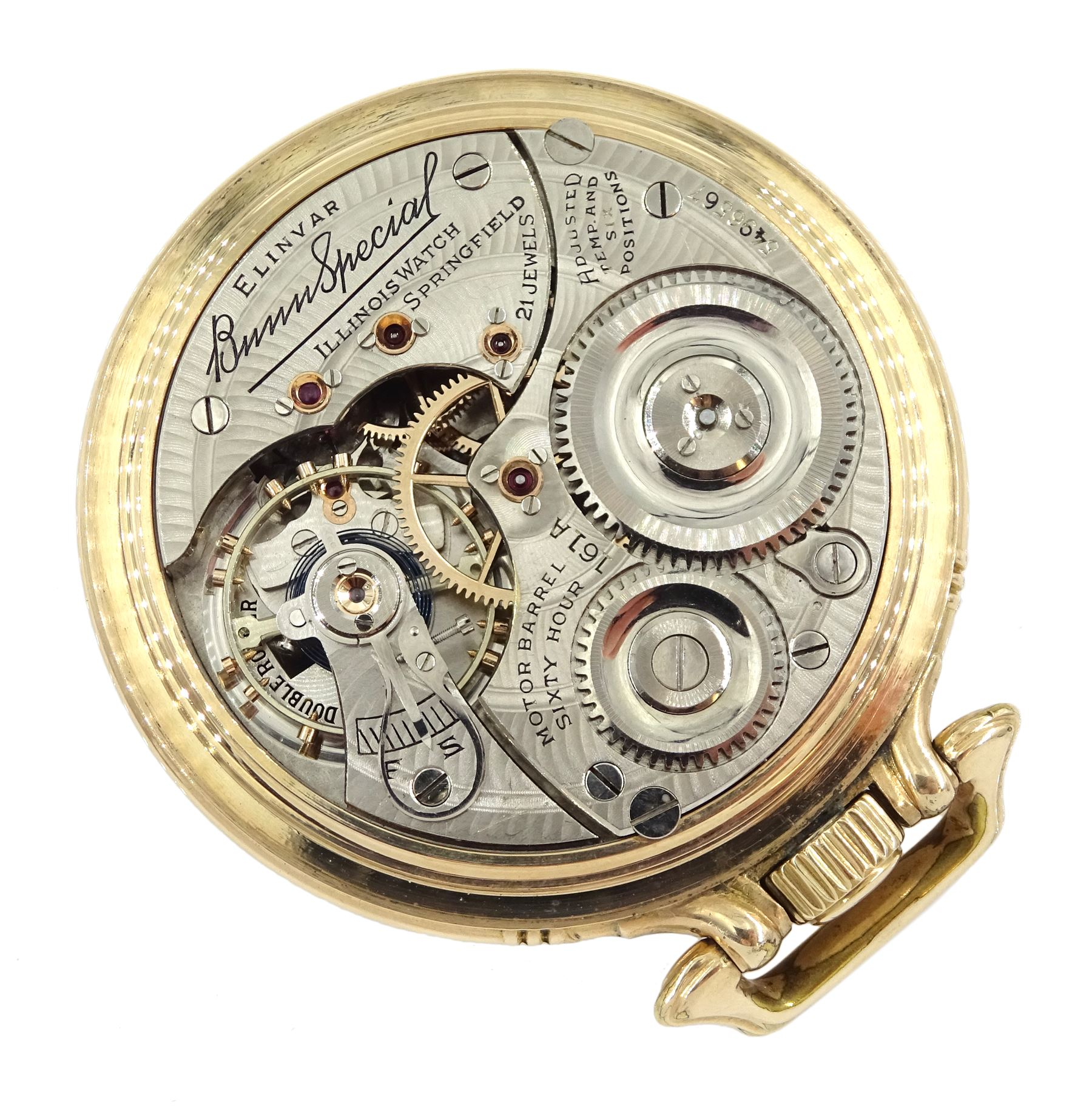 Illinois Watch Company gold-plated open face Elinvar 'Bunn Special' 161A, keyless 21 jewels motor ba - Image 3 of 3