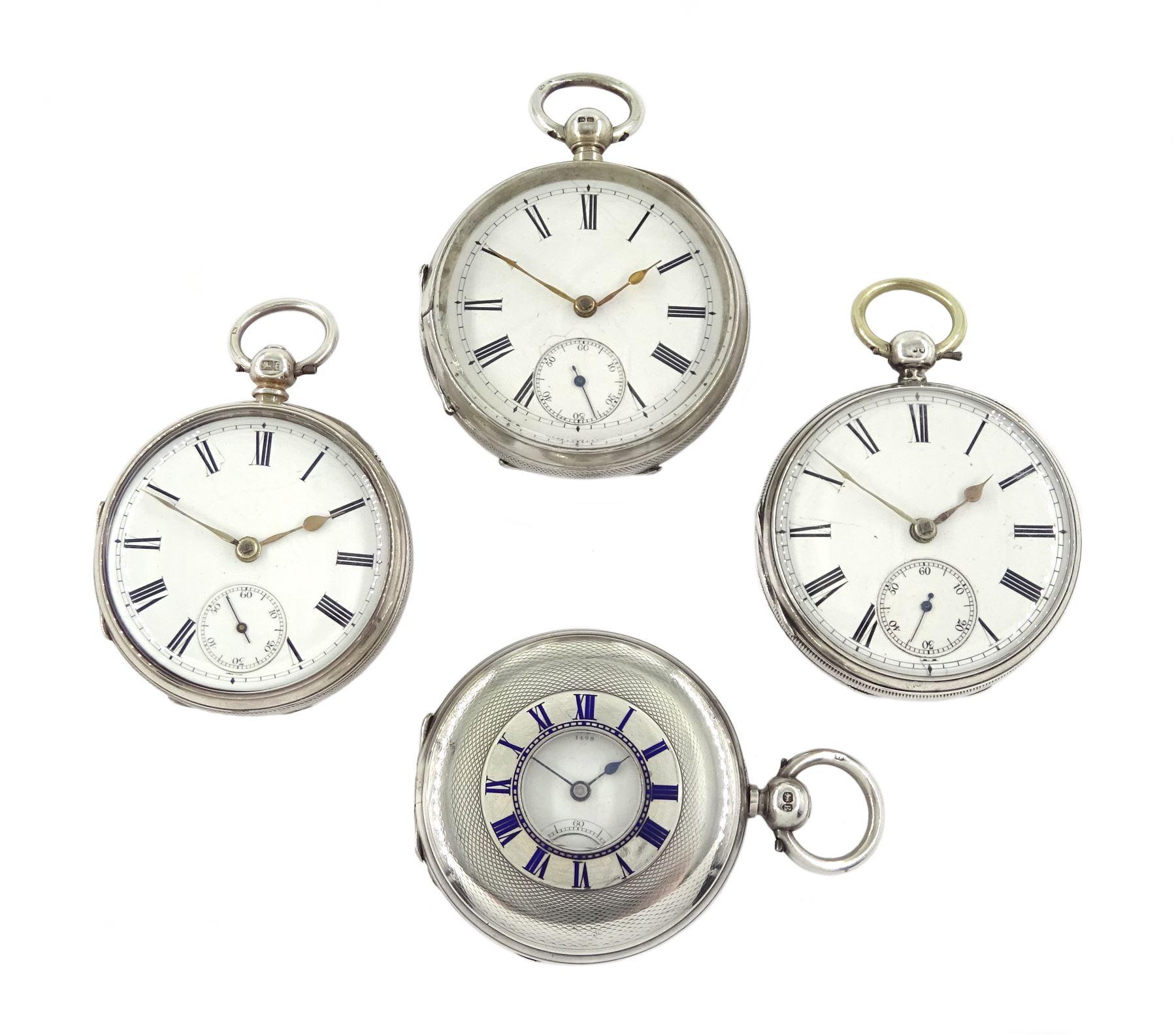 Victorian silver half hunter lever fusee presentation pocket watch by Robert H Halford, silver open