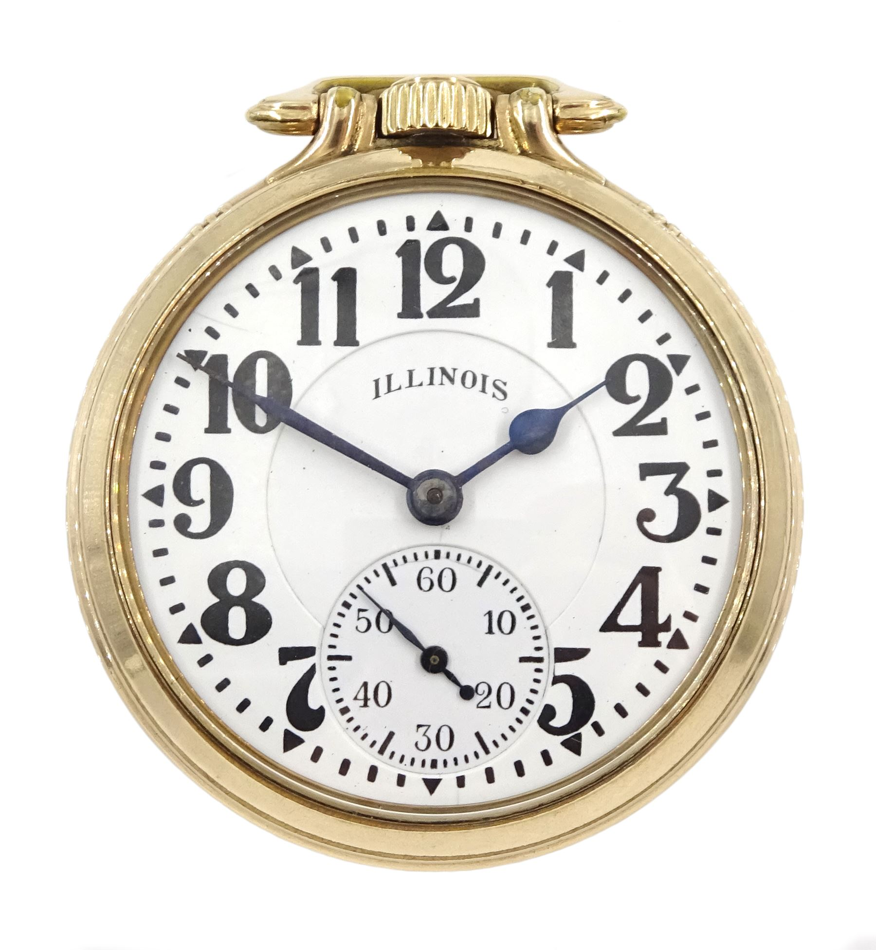 Illinois Watch Company gold-plated open face Elinvar 'Bunn Special' 161A, keyless 21 jewels motor ba