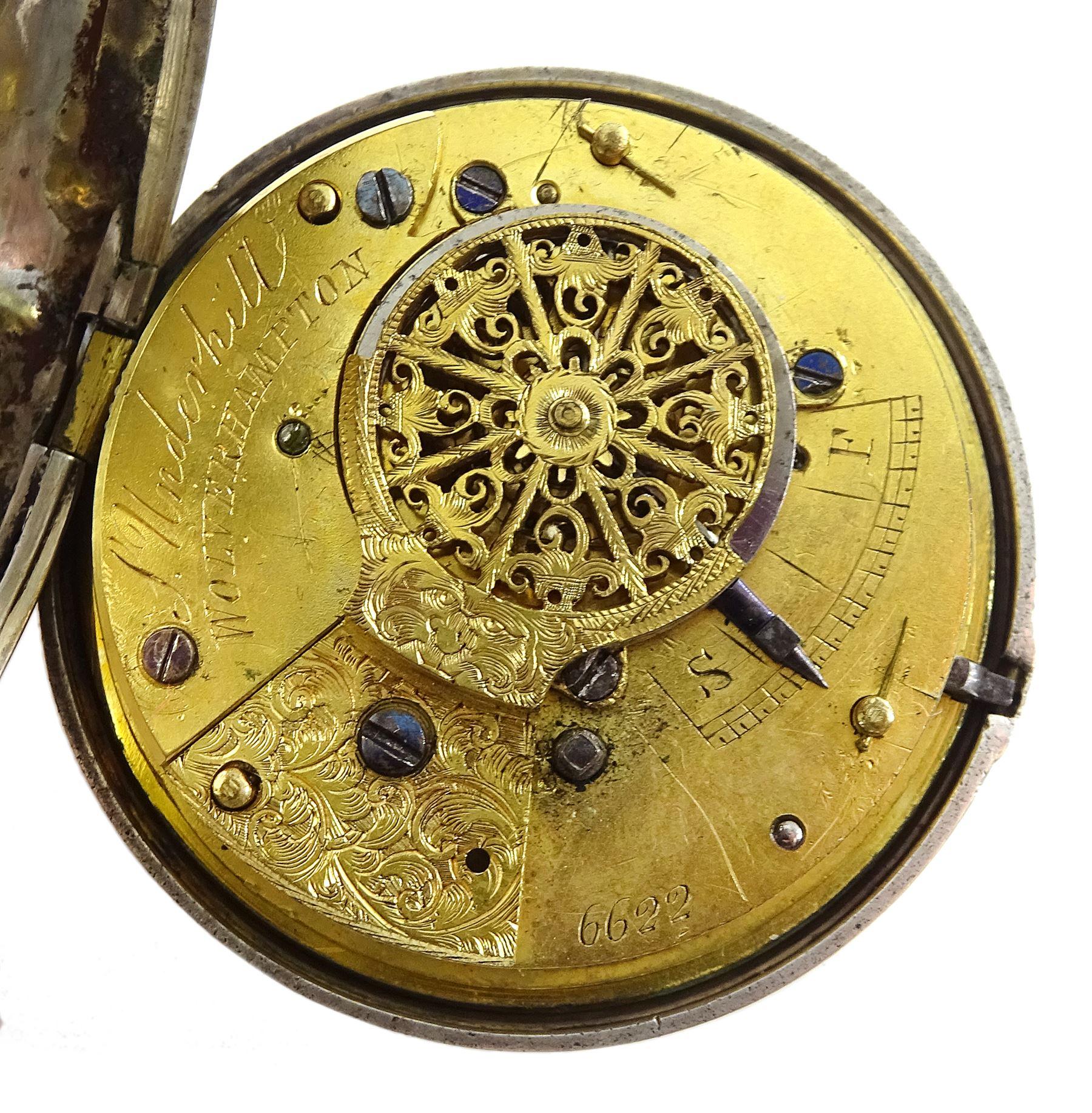 William IV silver half hunter verge fusee pocket watch by Samuel Underwood, Wolverhampton, No. 6622, - Image 4 of 6