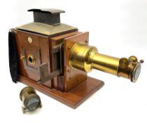 Victorian brass and mahogany 'Model C Challenge' magic lantern projector by J. Lizars