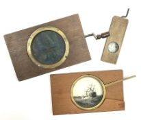 Two wood framed hand cranked rack and pinion chromatrope glass magic lantern slides