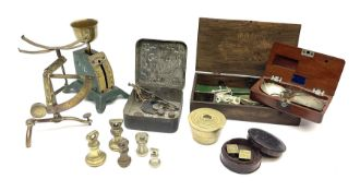 Set of early 19th century nickel pocket beam scales in fitted mahogany case with weights compartment