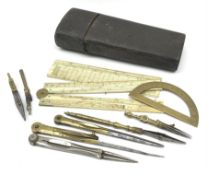 George III drawing instruments etui in shagreen bound wooden case