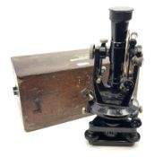 Mid-20th century black enamelled brass theodolite by E.R. Watts & Sons London No.20373 H34cm in fitt
