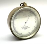 WW1 brass cased compensated barometer with altimeter scale by J. Hicks 8/9/10 Hatton Garden London N