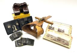 Victorian hand-held maple stereoscopic viewer bearing dates 1883 and 1895; eighteen stereoscopic car