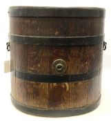 Large coopered oak open oval barrel with dished base