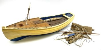 Early 20th century cream and blue painted wooden model of a Whitby coble
