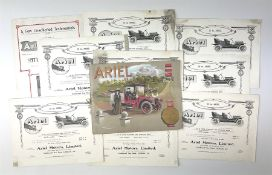 Motoring History - Ariel Silent Motors catalogue 1909 with ten additional identical unbound folded p