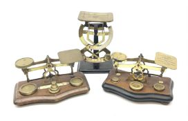 Pair of German Jacob Maul bilateral brass and black enamel postal scales H16cm; and two sets of bras