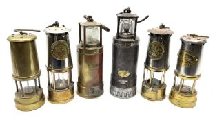 Six miners lamps - Oldham Type 'F' steel and white metal H30cm; Oldham all brass No.900-4090; two Pr