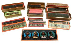 Six boxes of mainly mid-19th century juvenile panoramic coloured glass magic lantern slides
