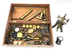 19th century students small brass cased field microscope H15cm; and approximately fifty predominantl