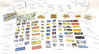 Hornby Dublo etc - large quantity of labels etc comprising headboards and train names including Mall