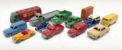 Dublo Dinky - twelve unboxed models comprising 061 Ford Prefect