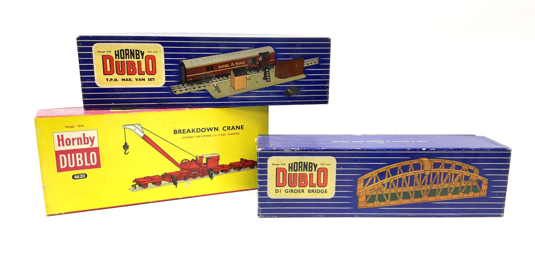 Hornby Dublo - Breakdown Crane No.4062 boxed with screw jacks; D1 Girder Bridge