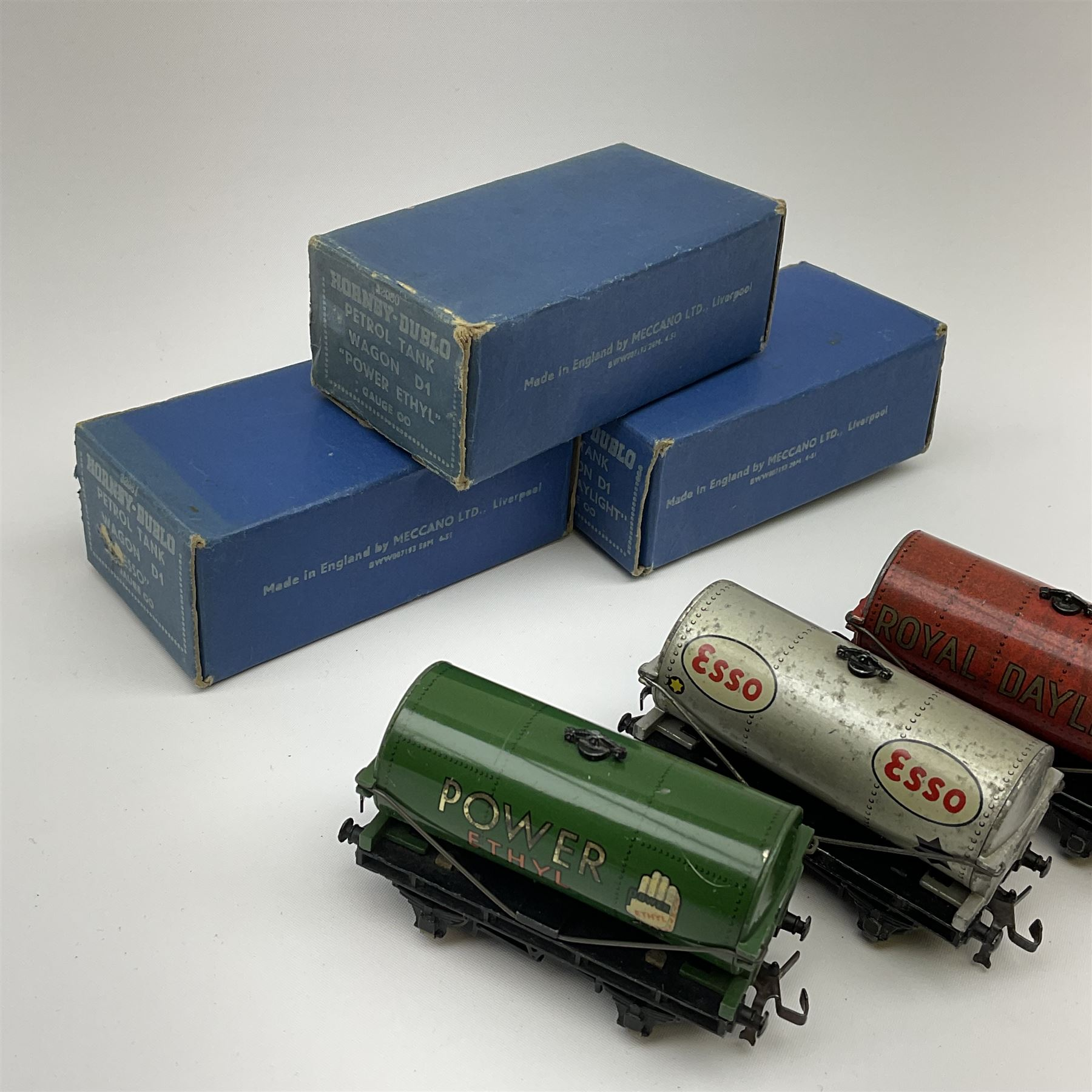 Hornby Dublo - Petrol Tank Wagon D1 'Power Ethyl'; Oil Tank Wagon D1 'Royal Daylight'; and Petrol Ta - Image 2 of 3