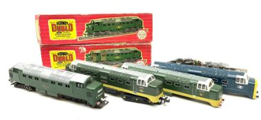 Hornby Dublo - four re-painted items comprising two-rail 2232 Co-Co Diesel Electric locomotive 'Ball