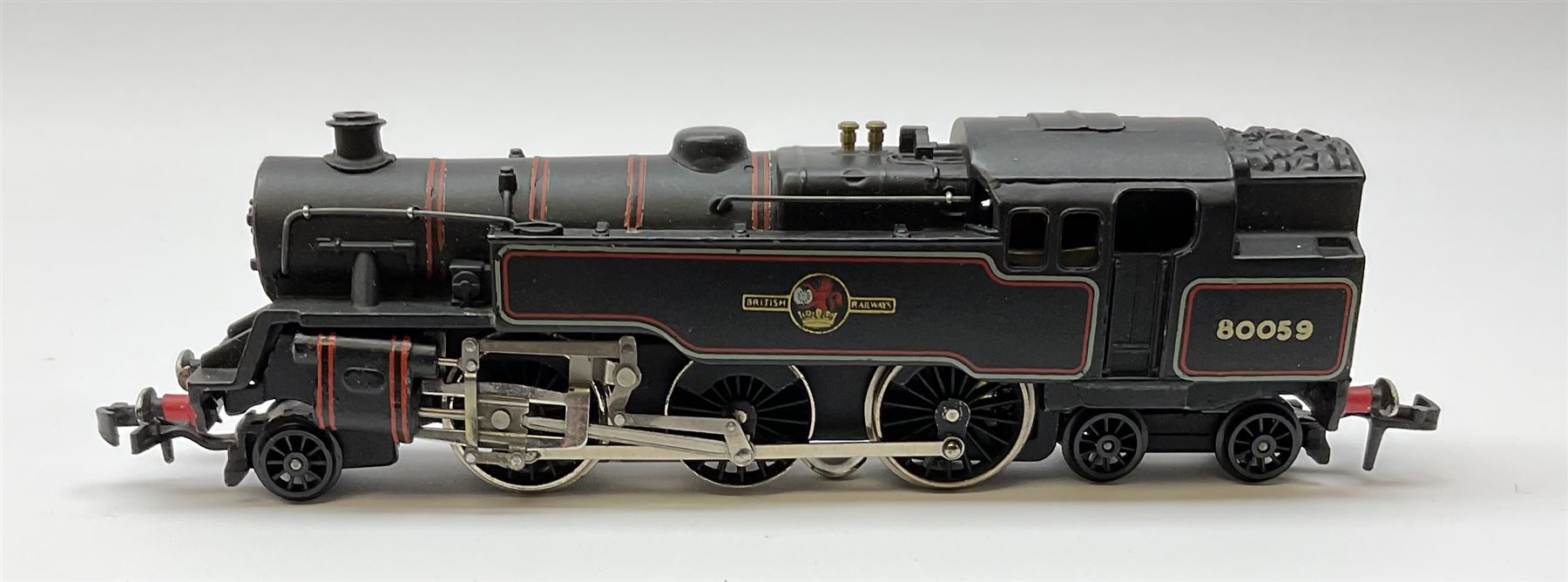 Hornby Dublo - three-rail 4MT Standard 2-6-4 Tank locomotive No.80059 with totems facing forward - Image 3 of 6