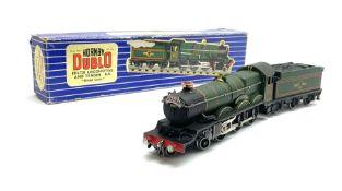 Hornby Dublo - three-rail Castle Class 4-6-0 locomotive 'Bristol Castle' No.7013; in blue striped bo