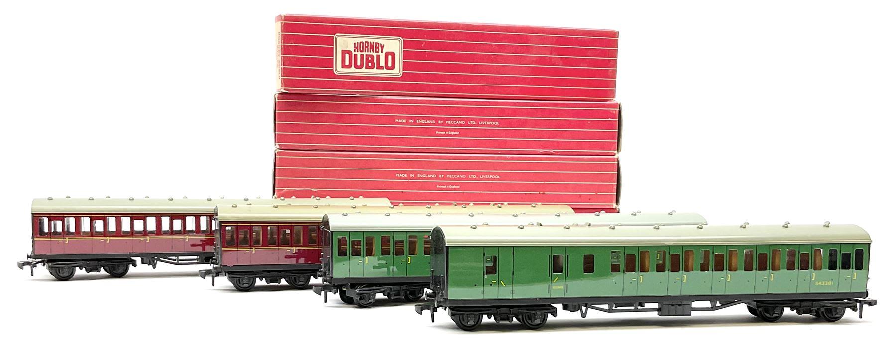 Hornby Dublo - four Suburban Coaches comprising 4081 2nd Class S.R.; 4082 Brake/2nd S.R.; 4083 1st/2