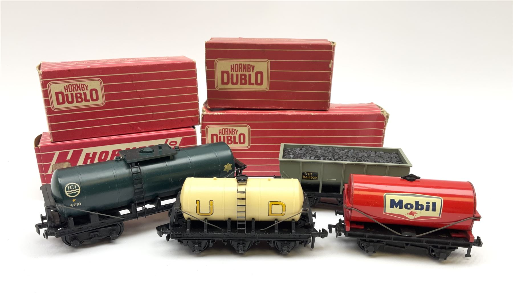 Hornby Dublo - 4685 Caustic Liquor Bogey wagon; 4644 21-Ton Hopper Wagon; 4657 'United Dairies' Milk