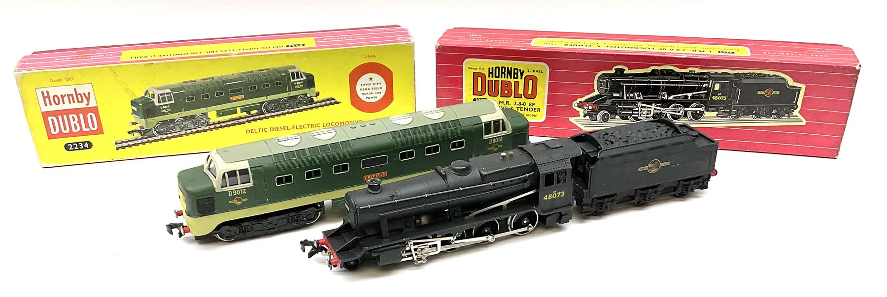 Hornby Dublo - two-rail 2224 Class 8F 2-8-0 locomotive No.48073 with instructions; and 2234 Deltic T