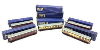 hornby Dublo - eight coaches comprising two 32017 D12 Corridor Coaches B.R. First/Third (L.M.R.); 32