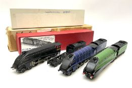 Hornby Dublo - two re-painted A4 class 4-6-2 'Mallard' locomotives comprising wartime black No.4468;