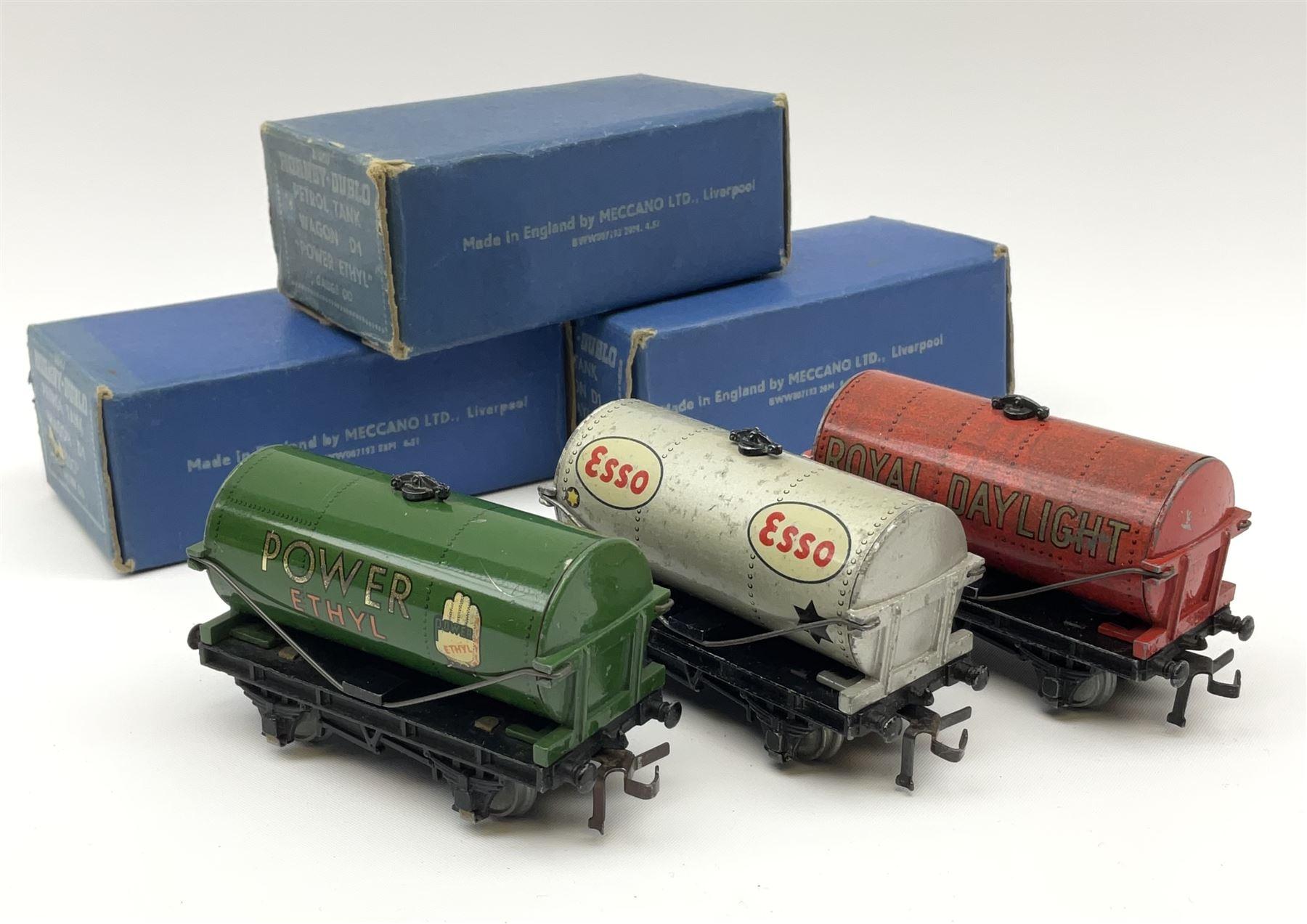 Hornby Dublo - Petrol Tank Wagon D1 'Power Ethyl'; Oil Tank Wagon D1 'Royal Daylight'; and Petrol Ta